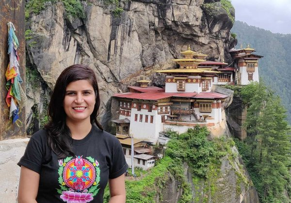 posing for photo from view point at Taktsang monastery, Tiger's nest