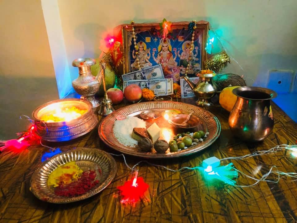 Worshipping Goddess Laxmi duirng Tihar