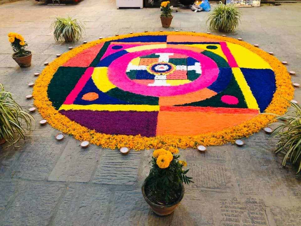 Rangoli during Deepawali