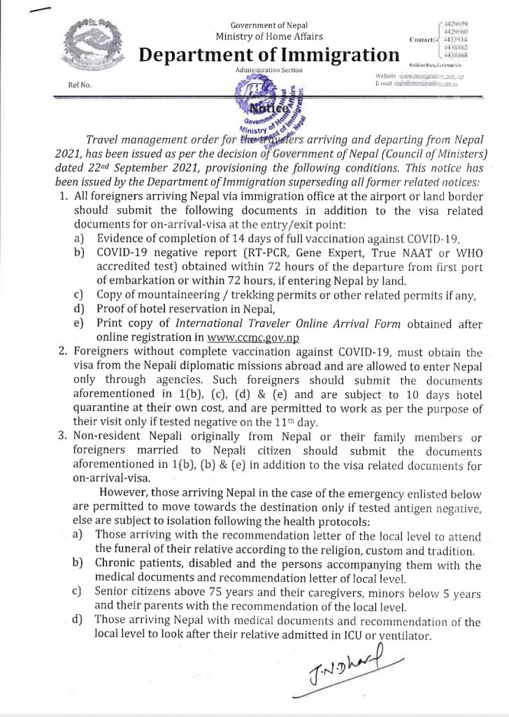 travel advisory by department of immigration